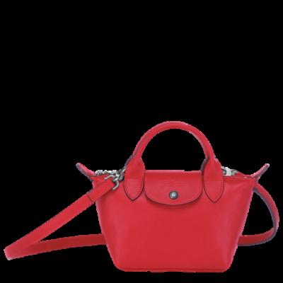 Sac à main cuir Le Pliage de Longchamp couleur rouge