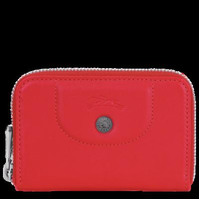 Porte-monnaie en cuir Le Pliage de Longchamp couleur rouge