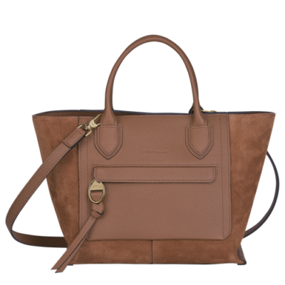 Mailbox sac porté main M Longchamp Cognac
